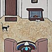 Essence Of Home - Black And White Cat In Living Room Art Print