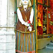 Estonian Greeter In Old Town Tallinn-estonia Art Print
