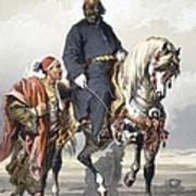 Eunuch Of The Seraglio On A Fine Arab Art Print by Amadeo Preziosi