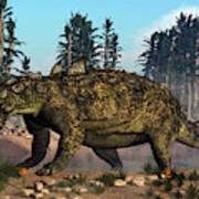 Euoplocephalus Dinosaur Grazing Art Print