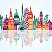 Europe Skyline Detailed Silhouette Art Print
