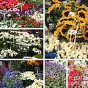 European Flower Market Collage Art Print