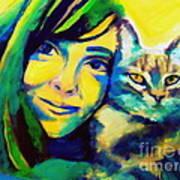 Evangelina And The Cat Art Print