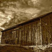 Evening Barn Sepia Art Print