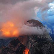 Evening Glow On Half Dome In Yosemite Art Print