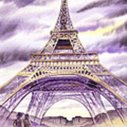 Evening In Paris A Walk To The Eiffel Tower Art Print