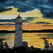 Evening Lighthouse In Stained Glass Art Print