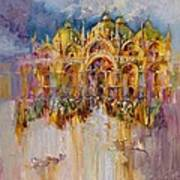 Evening Lights On St. Mark Square Art Print