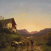 Evening Mood In Front Of A Wide Landscape With Horses Art Print