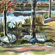 Evening Shadows At Shepherd Mountain Lake  No W101 Art Print