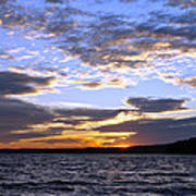 Evening Sky Over Lake Art Print by Olivier Le Queinec