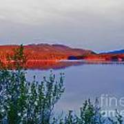 Evening Sun Glow On Calm Twin Lakes Yukon Canada Art Print