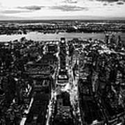 Evening View Of Manhattan West Towards Hudson River And One Penn Plaza Night New York City Art Print