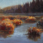 Ever Flowing Alaskan Creek In Autumn Art Print
