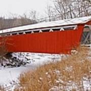 Everett Rd. Covered Bridge In Winter Art Print