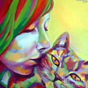 Evi And The Cat Art Print