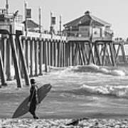 Existential Surfing At Huntington Beach Art Print