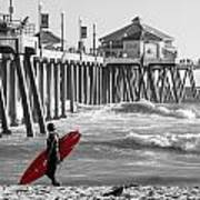 Existential Surfing At Huntington Beach Selective Color Art Print