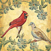 Exotic Bird Floral And Vine 2 Art Print