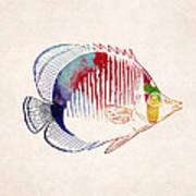 Exotic Tropical Fish Drawing Art Print