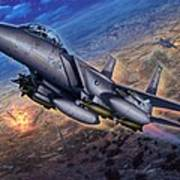 F-15e Strike Eagle Scud Busting Art Print by Stu Shepherd