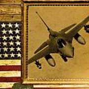 F-16 Fighting Falcon Rustic Flag Art Print