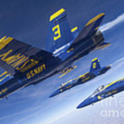 Fa-18 Hornets Of The Blue Angels Fly Art Print