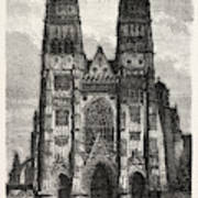 Facade Of The Metropolitan Church Of Tours Art Print