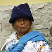 Face Of Ecuador Woman At Cotacachi Art Print