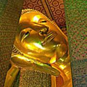 Face Of Reclining Buddha In Wat Po In Bangkok-thailand Art Print