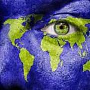 Face The World Map Art Print