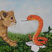 Face To Face Were A Lion And Snake Art Print