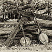 Faded Country Time Banjos Art Print