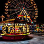 Fairground At Night Art Print