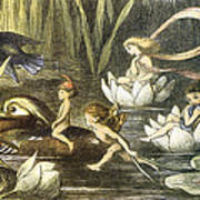 Fairies And Water Lilies Circa 1870 Art Print