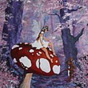 Fairy On A Mushroom Art Print
