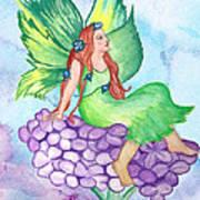 Fairy On Lilac Art Print