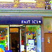 Fait Ici Organic General Store Notre Dame Corner Charlevoix St Henri Shops City Scene Carole Spandau Art Print