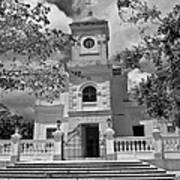 Fajardo Church And Plaza B W 3 Art Print