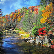 Fall Along The Linville River Art Print