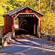 Fall At Kurtzs Mill Covered Bridge Art Print
