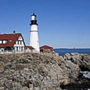 Fall At The Lighthouse Art Print