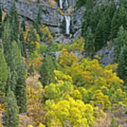 Fall Color And Waterfalls In Provo Canyon Utah Art Print