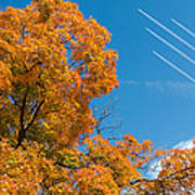 Fall Foliage With Jet Planes Art Print