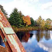 Fall Landscape Old Bridge Maine Art Print