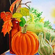 Fall Leaves Pumpkin Gourd Art Print