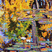 Fall Lily Pond Reflections Art Print