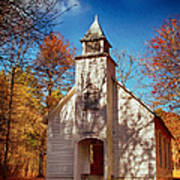 Fall Morning At Palmer Chapel In Cataloochee Art Print