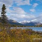 Fall Mountain Landscape Of Lapie Lake Yukon Canada Art Print