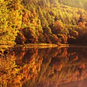 Fall Reflections. Loch Achray. Scotland Art Print